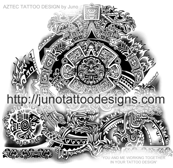 aztec tattoos custom tattoos made to order by juno professional tattoo designer. Black Bedroom Furniture Sets. Home Design Ideas