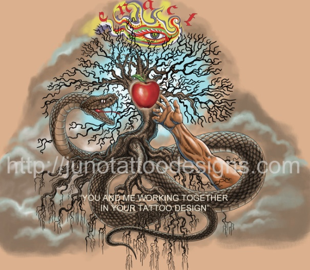 Biblical tattoo, snake and apple tattoo, temptation tattoo, adam and eve tattoo
