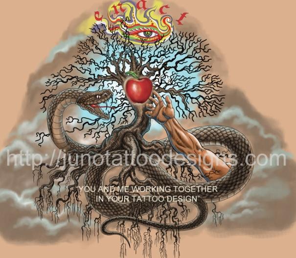 biblical tattoo, tree tattoo, adam eve tattoo, sleeve tattoo, arm tattoo, snake tattoo