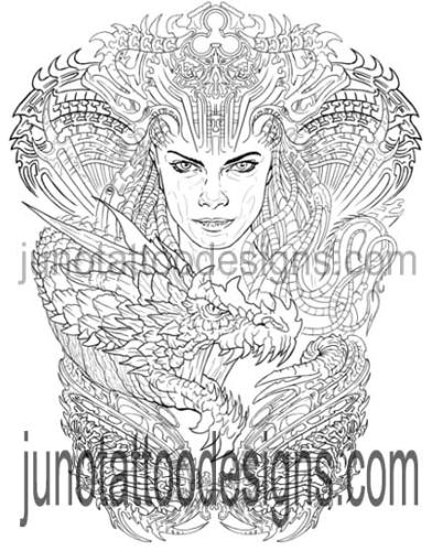 biomechanical tattoo template stencil for sale by Juno