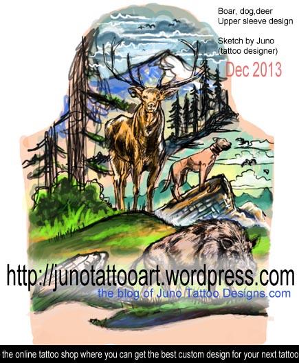 Boartattoo,dog tattoo,deer tattoo, sleeve tattoo,animals tatoo