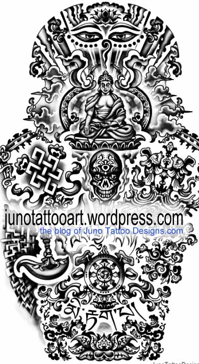 buddhist tibetan tattoo for sleeve by Juno tattoo designer