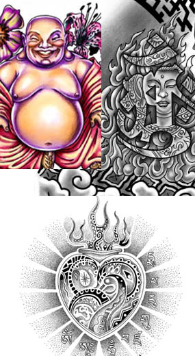 Budha tattoo, tibbetan designs,tibetan heart tattoo, smiling buddha