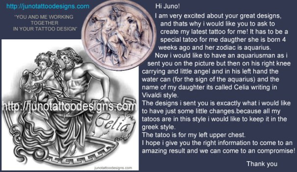 greek mythology tattoo, greek god tattoo, cherub tattoo, juno tattoo, jun tattoo