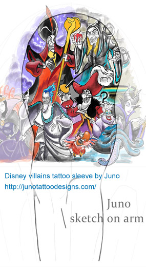 disney tattoo, Disney villains tattoo, Captain Hook tattoo,Peter Pan tattoo , Maleficent tattoo, Sleeping Beauty tattoo, Hades tattoo, Hercules tattoo,The Evil Queen/Hag tattoo, Snow White tattoo,Jafar tattoo, Aladdin tattoo,Ursula tattoo,The Little Mermaid tattoo,