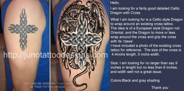 dragon tattoo,celtic cross tattoo,sleeve tattoo, arm tattoo,male tattoo