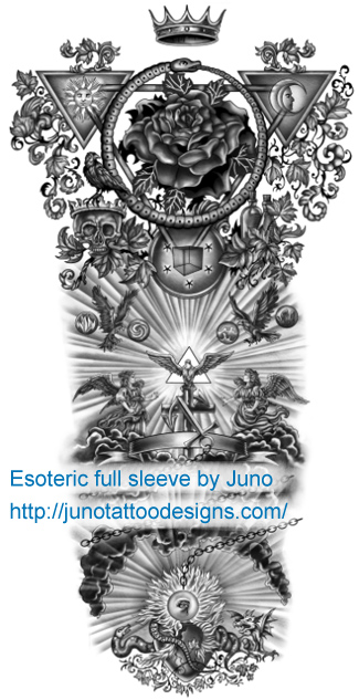 esoteric sleeve tattoo custom tattoos made to order by juno professional tattoo designer. Black Bedroom Furniture Sets. Home Design Ideas