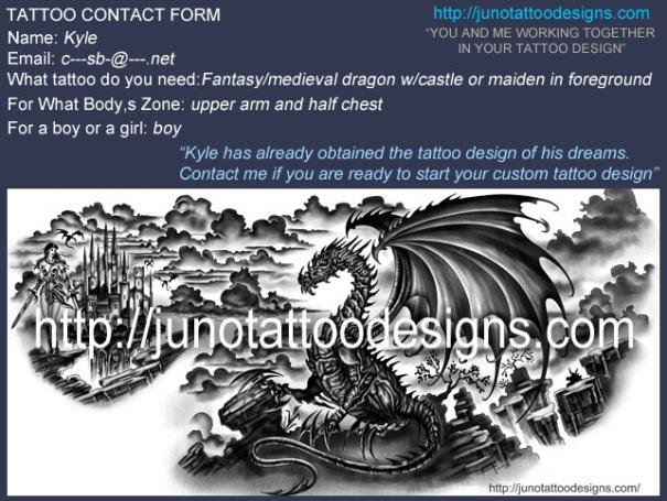 dragon tattoo,hearth dragon tattoo,fantasy tattoo,chest tattoo,castle tattoo,arm tattoo,sleeve tattoo