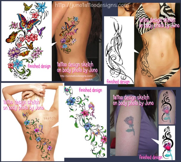 feminine tattoos custom tattoos made to order by juno professional tattoo designer. Black Bedroom Furniture Sets. Home Design Ideas