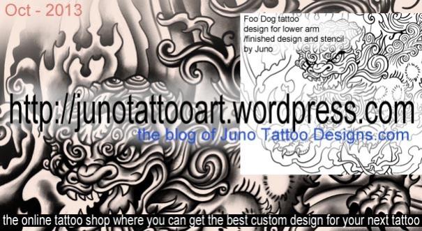 foo dog tattoo, tattoo stencil
