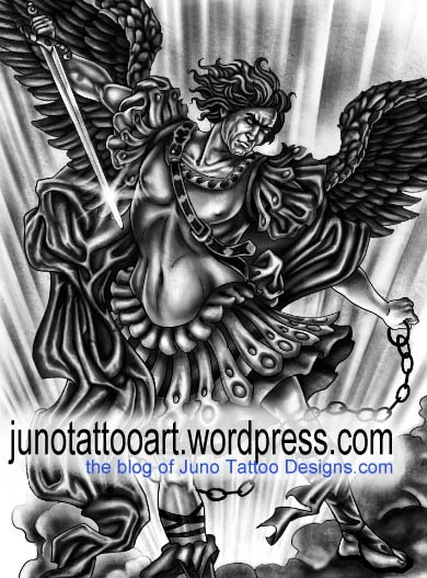 Gabriel archangel tattoo - detail - by Juno tattoo designer