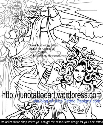 greek mythology tattoo,tattoo stencil,sleeve tattoo stencil,medussa tattoo,zeus tattoo