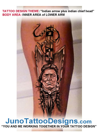 american indian portrait arrow - tattoo design
