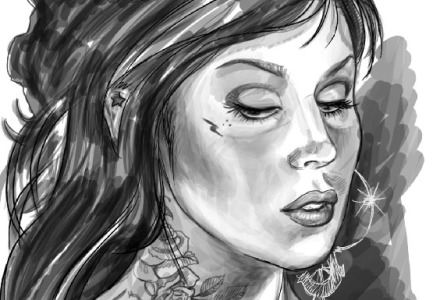 Kat Von D, tattoo artist,Kat Von D portrait,tattoo design,KatVon D drawing