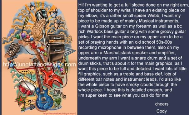 music tattoo,male tattoo,musical instrument tattoo,full sleeve tattoo,custom tattoo