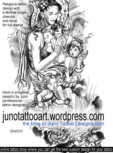 Religious tattoo,mother angel tattoo,cherubs tattoo,dove tattoo,feminine tattoo,mother and children tattoo