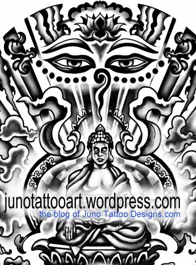 sitting budha tattoo - detail - by Juno tattoo designer