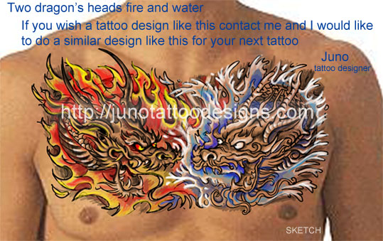 Asian dragons heads for chest-Tattoo design by Juno