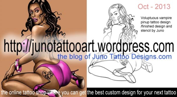 voluptuous girl tattoo, vampire girl tattoo, pinup tattoo,girl tattoo