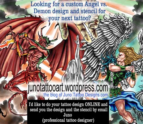 angel versus demon tattoos juno tattoo art professional tattoo designer online. Black Bedroom Furniture Sets. Home Design Ideas