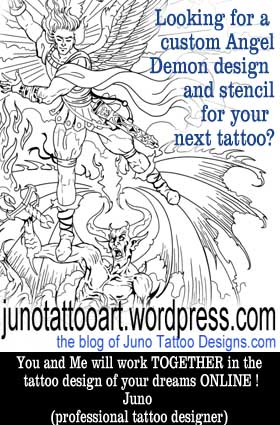 angel demon tattoo stencil designer online
