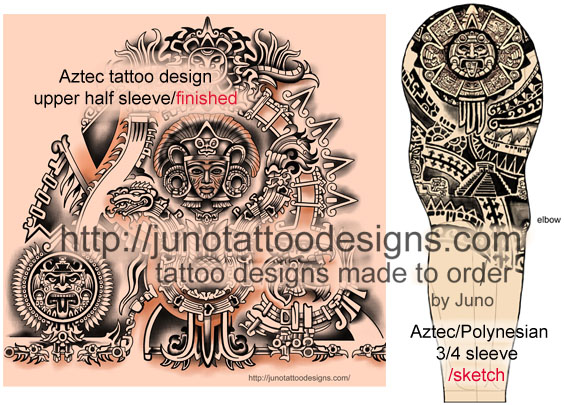 aztec plus polynesian tattoo,samoan tattoo,upper arm tattoo,sleeve tattoo,maxican tattoo,aztec sun tattoo,