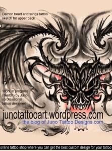 demon head tattoo, skull tattoo , male tattoo, back tattoo, tattoo sketch, custom tattoo