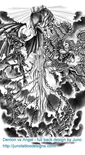 Angel Versus Demon Tattoos Custom Tattoos Made To Order By Juno