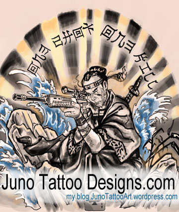 Samurai gun tattoo by Juno