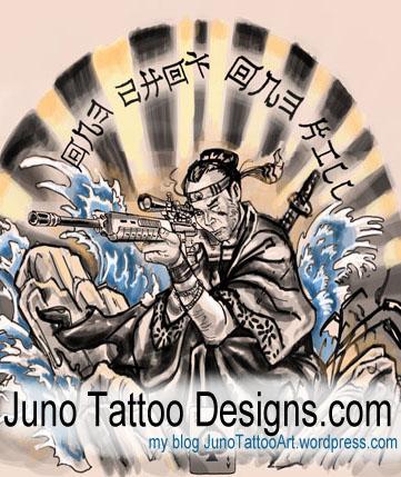 Samurai gun tattoo by Juno