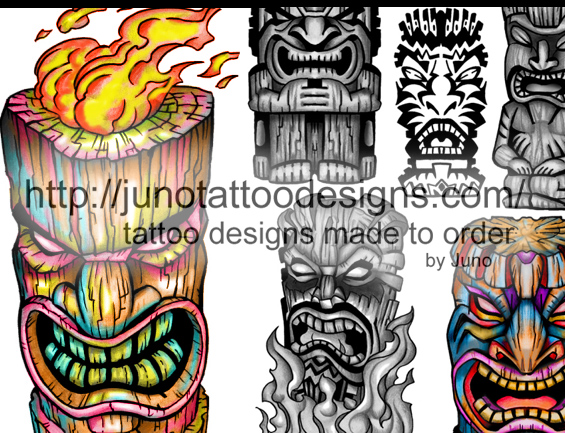 tiki tattoos,polynesian tattoos,evil tiki tattoo