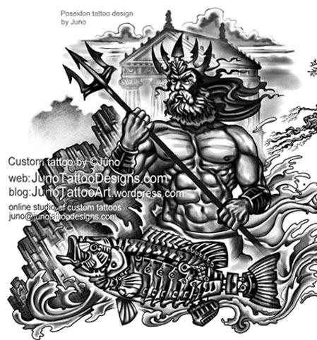 Poseidon tattoo, biomechanic fish tattoo, tree tattoo, tattoo for arm