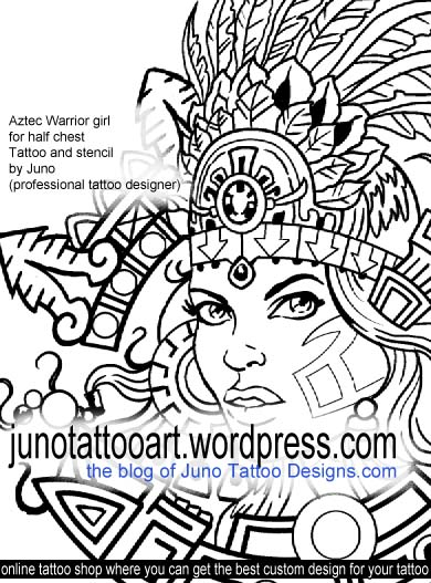 Aztec warrior girl tattoo stencil by Juno