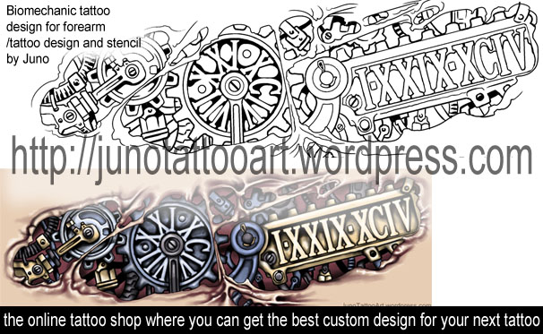 biomechanical tattoos custom tattoos made to order by juno professional tattoo designer. Black Bedroom Furniture Sets. Home Design Ideas