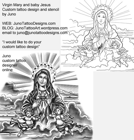 Virgin Mary and baby Jesus tattoo, tattoo stencil , tattoo template,,sleeve tattoo