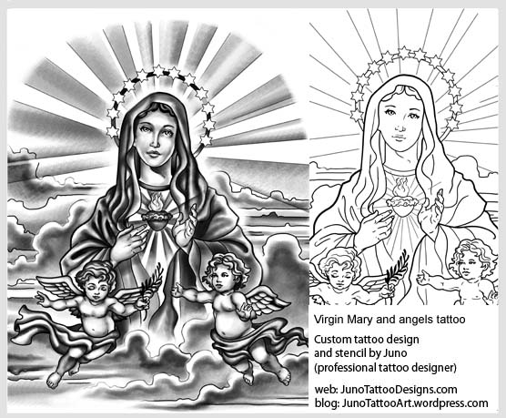 Virgin Mary tattoo,arm tattoo template,cherubs tattoo